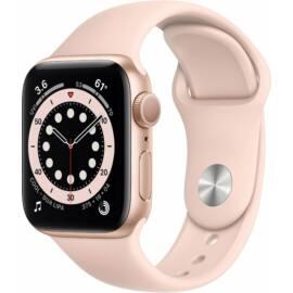 Apple Watch Series 6 GPS 44mm arany alumínium, homokrózsaszín sport szíjjal, 1 év gyártói garancia