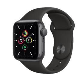Apple Watch SE GPS 44mm Space fekete alumínium, fekete sport szíjjal, 1 év gyártói garancia
