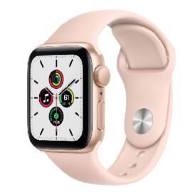 Apple Watch SE GPS 44 mm arany alumínium, homokrózsaszín sport szíjjal, 1 év gyártói garancia
