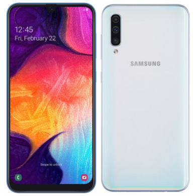 Samsung Galaxy A50, (A505) Dual Sim 128GB, fehér, 1 év gyártói garancia