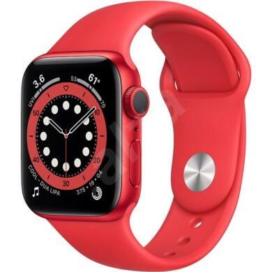 Apple Watch Series 6 GPS 44 mm Piros alumínium, piros sport szíjjal, 1 év gyártói garancia