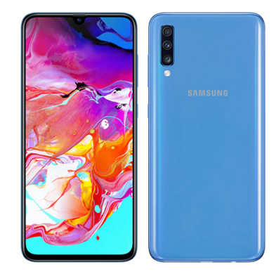 Samsung Galaxy A70 (2019) 6GB 128GB Dual SIM (B20), kék, Kártyafüggetlen, 1 év teljes körű garancia