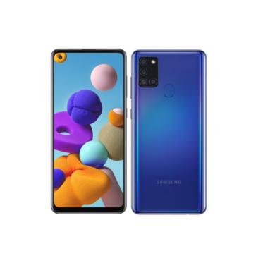Samsung A217F Galaxy A21s Dual Sim 32GB, kék, Kártyafüggetlen, 1 év Gyártói garancia