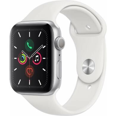 Apple Watch Series 5 GPS 44mm eztüst alumínium tok fehér sportszíjjal, 1 év gyártói garancia