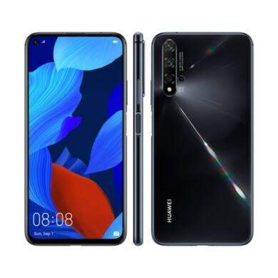 Huawei Nova 5T 128GB, fekete, Kártyafüggetlen, 2 év  Gyártói garancia